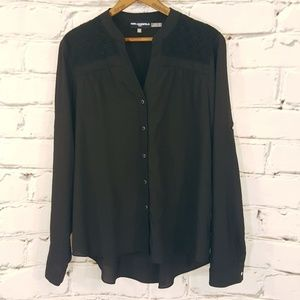 Karl Lagerfeld Button Down Blouse Lace